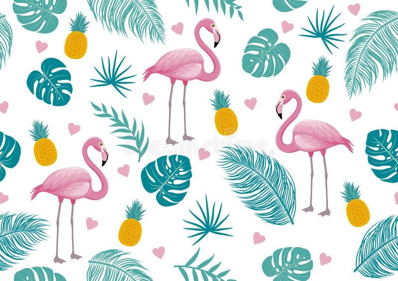 Картина лета безшовная фламинго и тропических листьев иллюстрация вектора