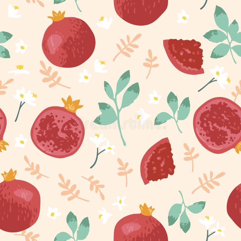 Картина лета вектора с гранатовыми деревьями, цветками и листьями Безшовный дизайн текстуры бесплатная иллюстрация