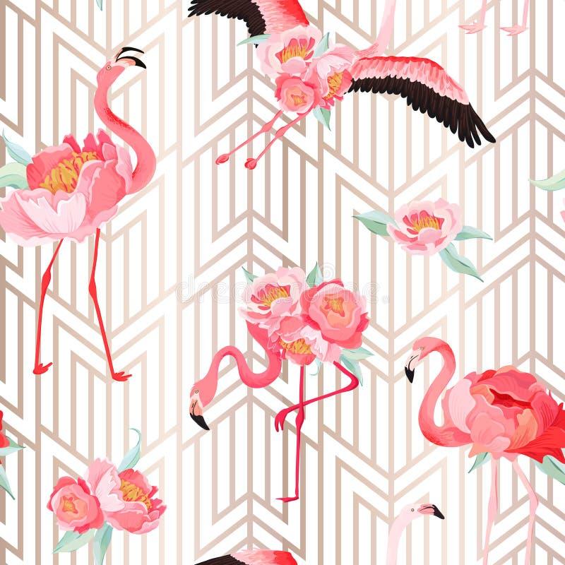 Картина лета вектора тропического фламинго безшовная с цветками пиона и предпосылкой стиля Арт Деко График флористических и птицы иллюстрация вектора