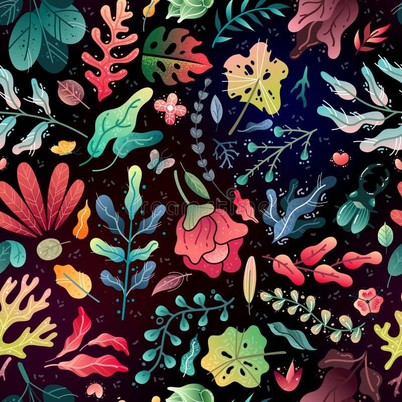 Картина лета весны декоративная безшовная ветви и листья цветков безшовной картины яркие на черной предпосылке бесплатная иллюстрация