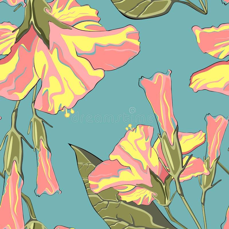 Картина лета гаваиская безшовная с цветками гибискуса Яркие цветы бесплатная иллюстрация