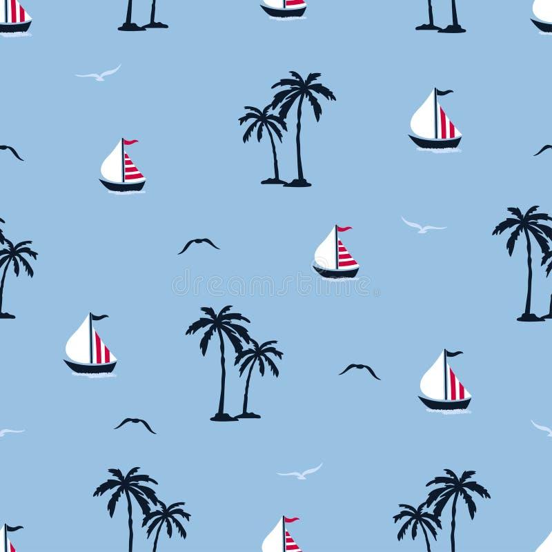 Картина лета моря безшовная с пальмами, кораблями, чайками иллюстрация вектора