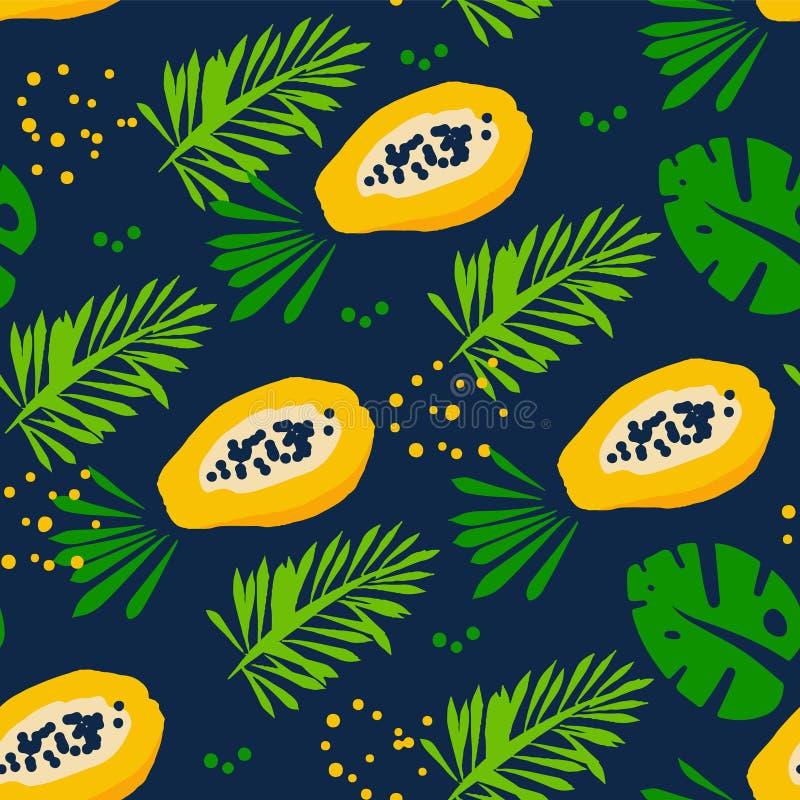 Картина лета с абстрактной папапайей, тропическими заводами и ладонью разветвляет на темной предпосылке Орнамент для ткани и обор иллюстрация штока