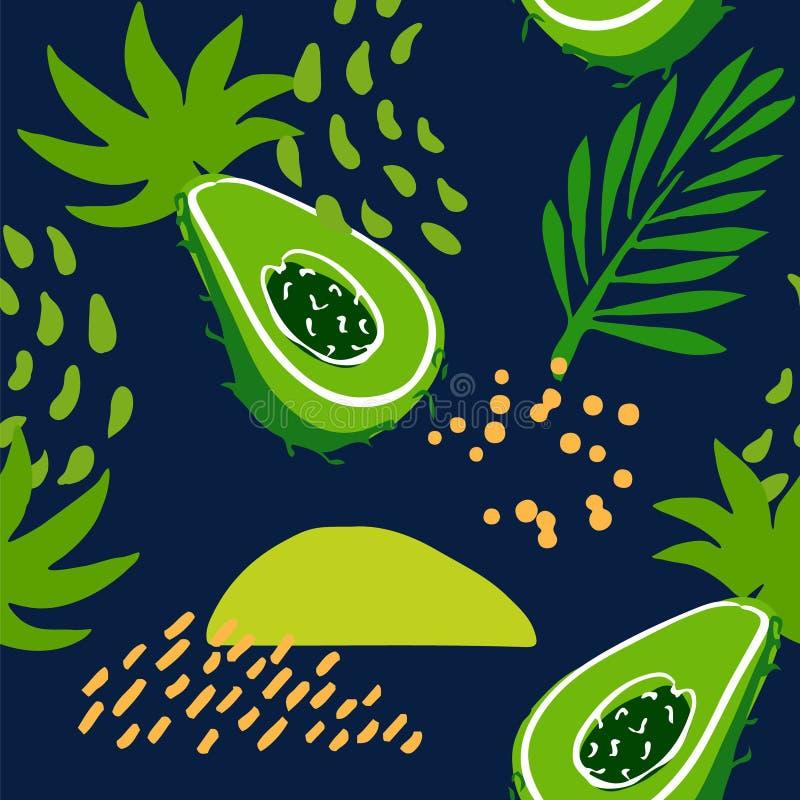 Картина лета с абстрактным авокадоом, тропическими заводами и ладонью разветвляет на темной предпосылке Орнамент для ткани и обор иллюстрация вектора