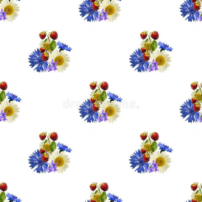 Картина лета яркая безшовная клубник и букет полевых цветков стоковое фото