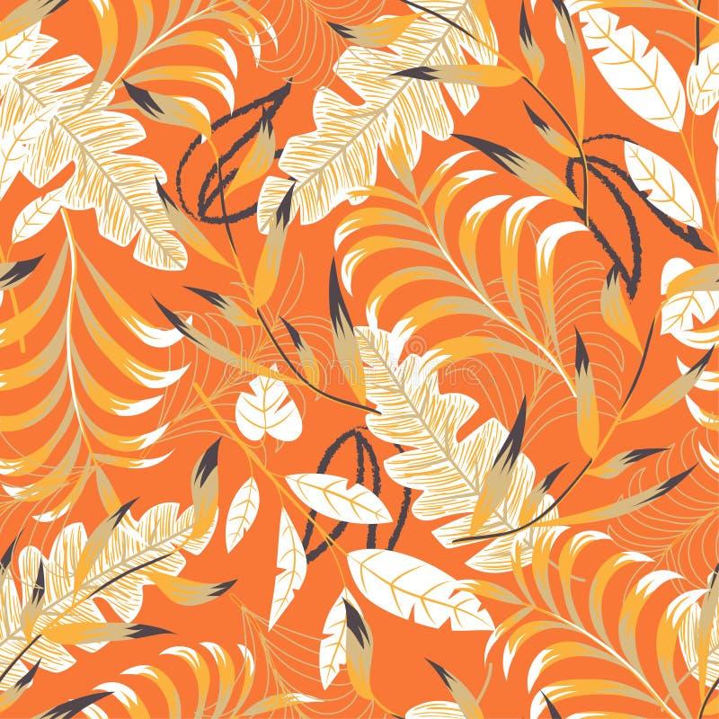 Картина лета яркая безшовная с тропическими листьями и заводами на оранжевой предпосылке o Печать Jung r бесплатная иллюстрация