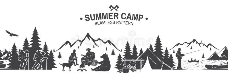 Картина летнего лагеря безшовная также вектор иллюстрации притяжки corel иллюстрация вектора