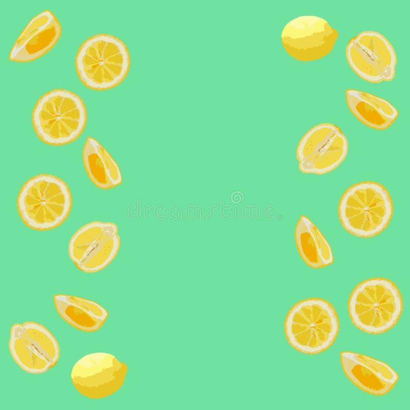 Картина лимонов в пастельных цветах Зеленая предпосылка, желтые лимоны стоковые изображения rf