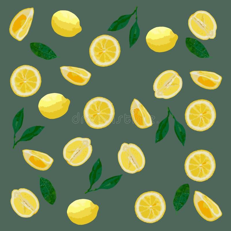 Картина лимонов в пастельных цветах Серая предпосылка, желтые лимоны стоковая фотография