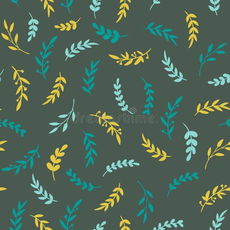 картина листьев безшовная Текстура Vectore стильная с листьями Флористическая картина повторения вектор иллюстрация вектора