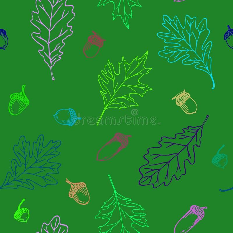 Картина листьев и жолудей дуба иллюстрация вектора