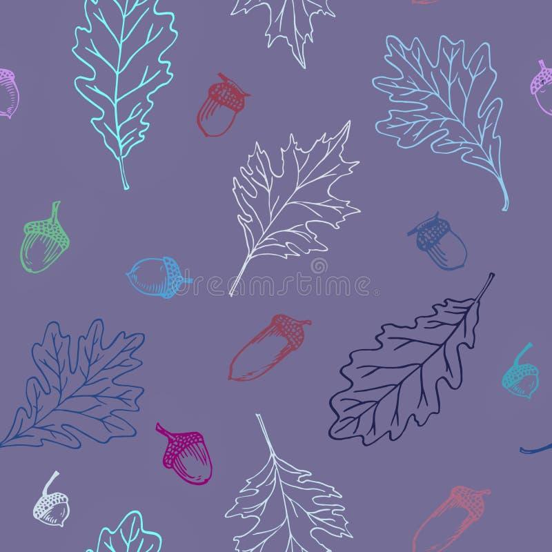 Картина листьев и жолудей дуба иллюстрация штока