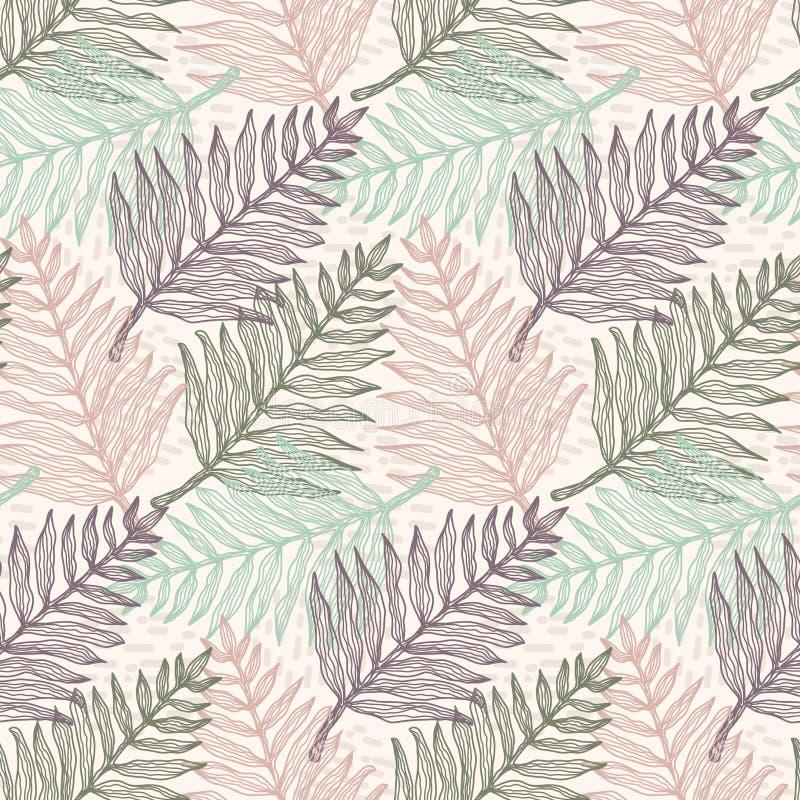 Картина листьев папоротника нежных цветов тропическая иллюстрация штока