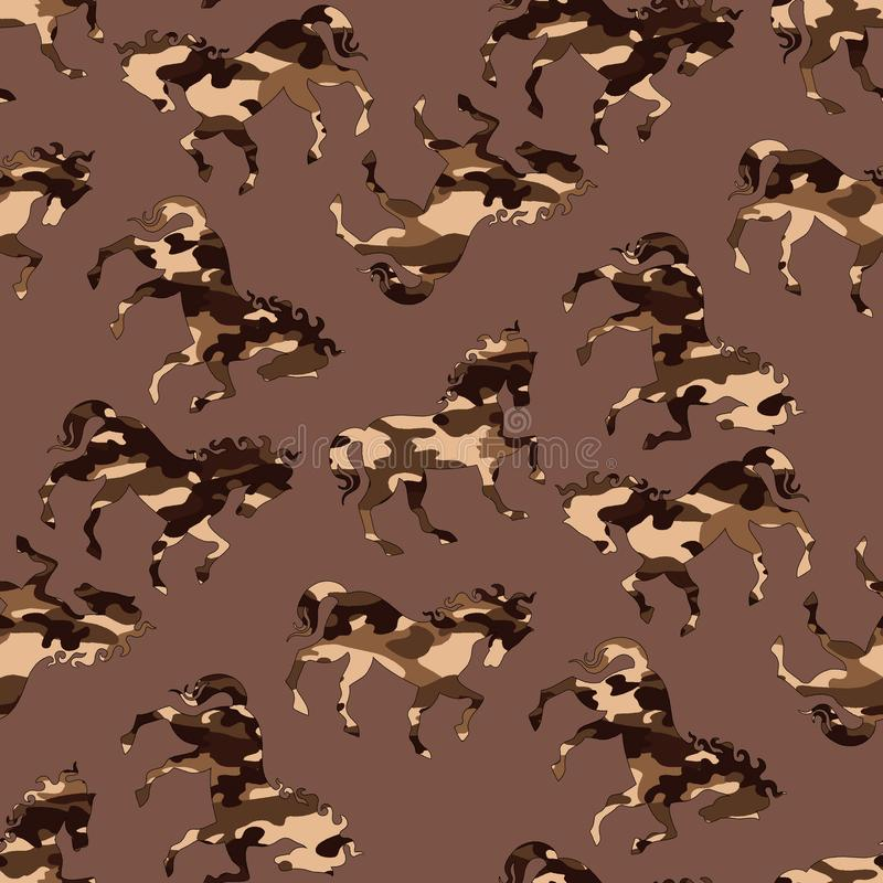 Картина лошади камуфлирования иллюстрация вектора