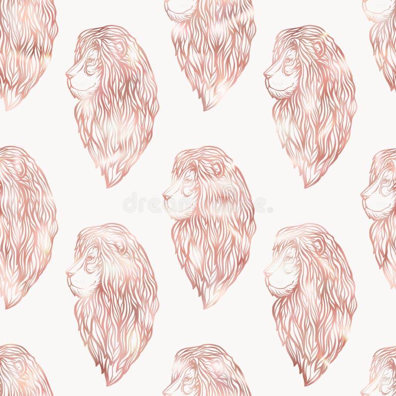 Картина льва безшовная График в розовых цветах золота иллюстрация штока