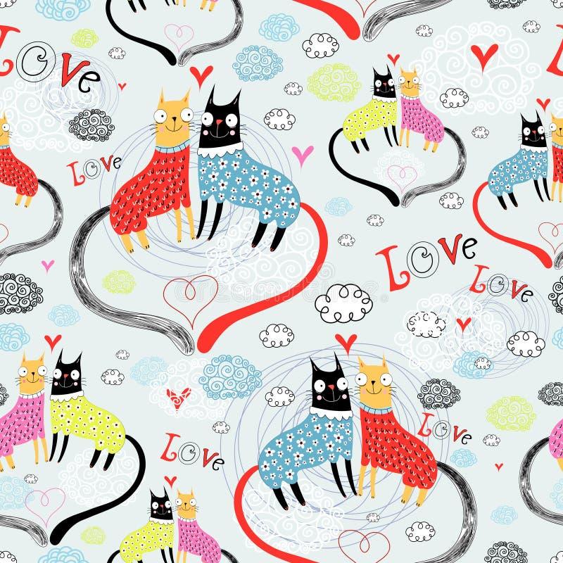 картина любовников кота иллюстрация вектора