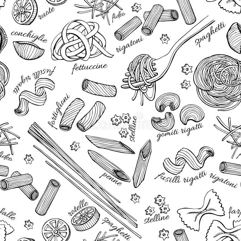 Картина макаронных изделий вектора нарисованная рукой Винтажная линия иллюстрация искусства иллюстрация штока