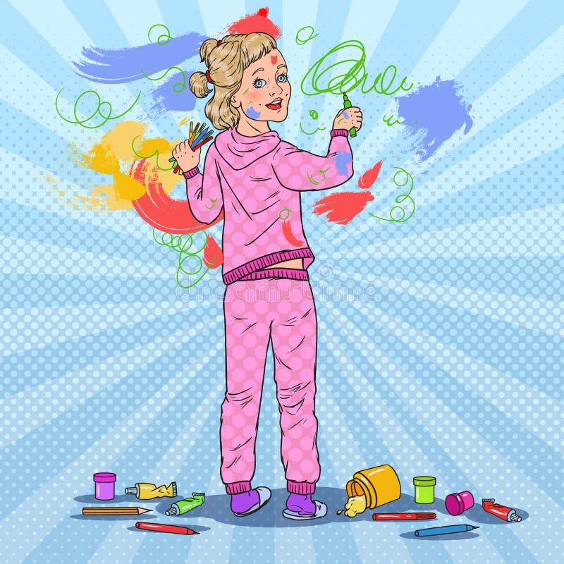 Картина маленькой девочки искусства шипучки на стене Чертеж ребенка с Crayons на обоях детство счастливое иллюстрация вектора