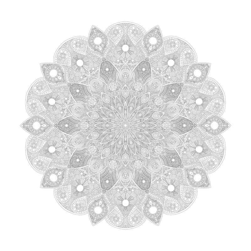 Картина мандалы Абстрактное флористическое искусство вектора Цветок в индийском поводе Роскошное украшение шнурка Круглый азиат о иллюстрация вектора