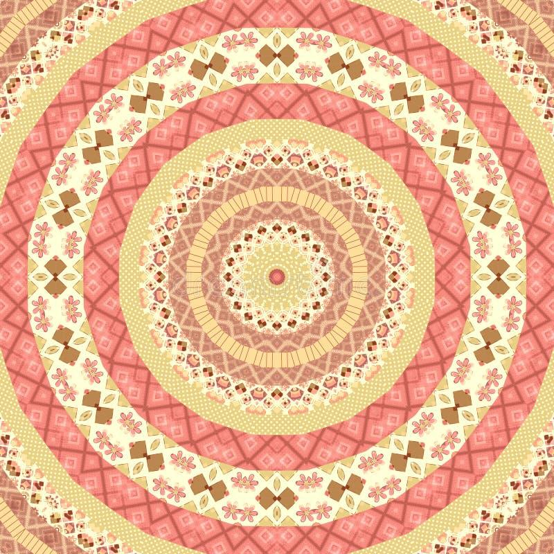 Картина мандалы безшовного круга заплатки круглая иллюстрация вектора