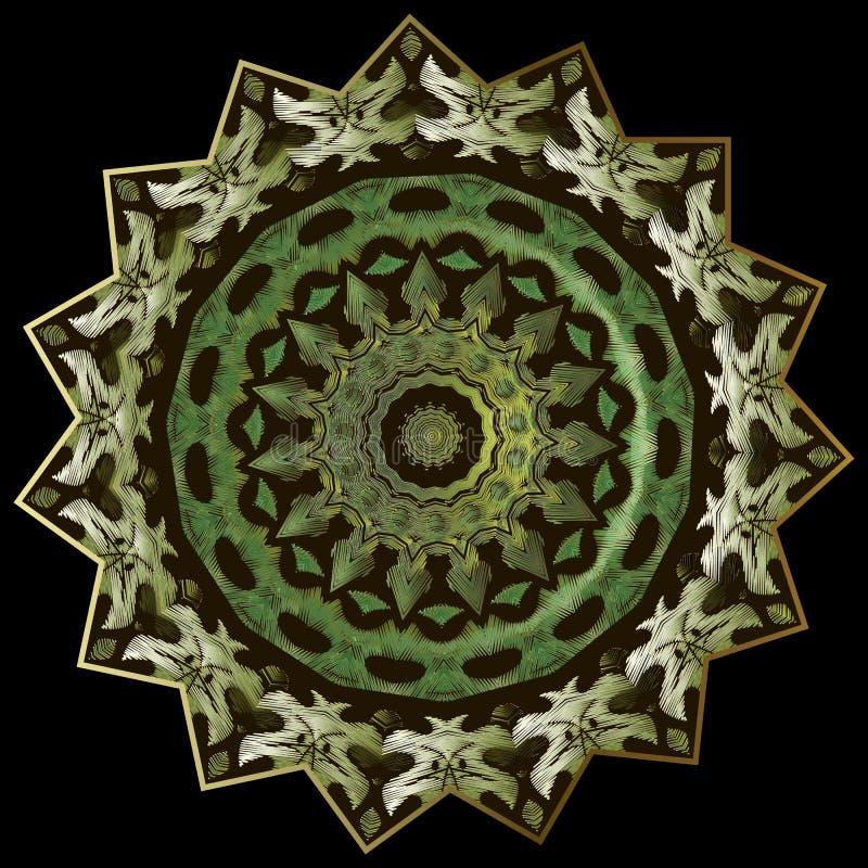 Картина мандалы вышивки геометрическая круглая Предпосылка камуфлирования вектора орнаментальная Зеленый цвет круга стиля гобелен иллюстрация вектора