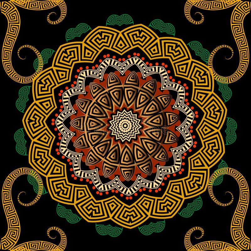 Картина мандалы греческого красочного вектора безшовная Греческий ключ извивается орнамент круга с геометрическими формами, свирл иллюстрация штока