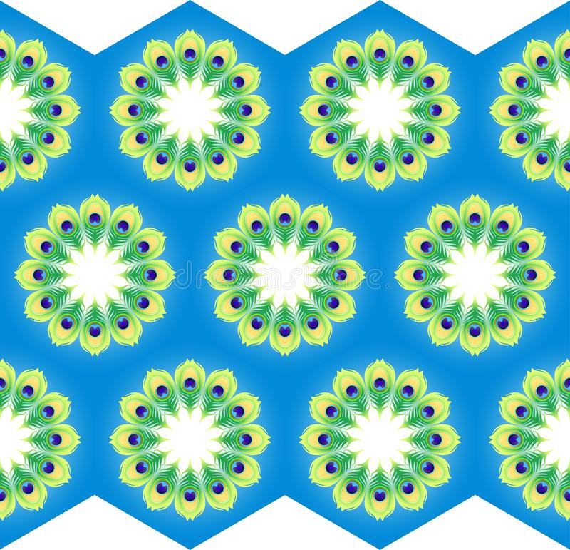 Картина мандал на голубой предпосылке для ткани или обоев бесплатная иллюстрация