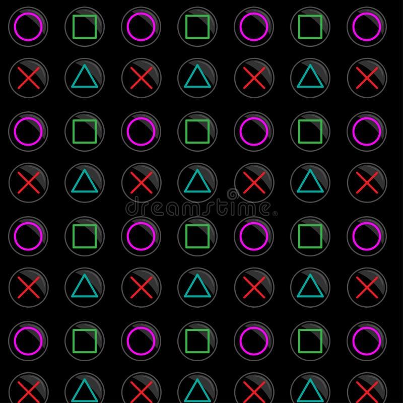 Картина мании игры сделанная с диаграммами значками консоли на черной предпосылке иллюстрация штока