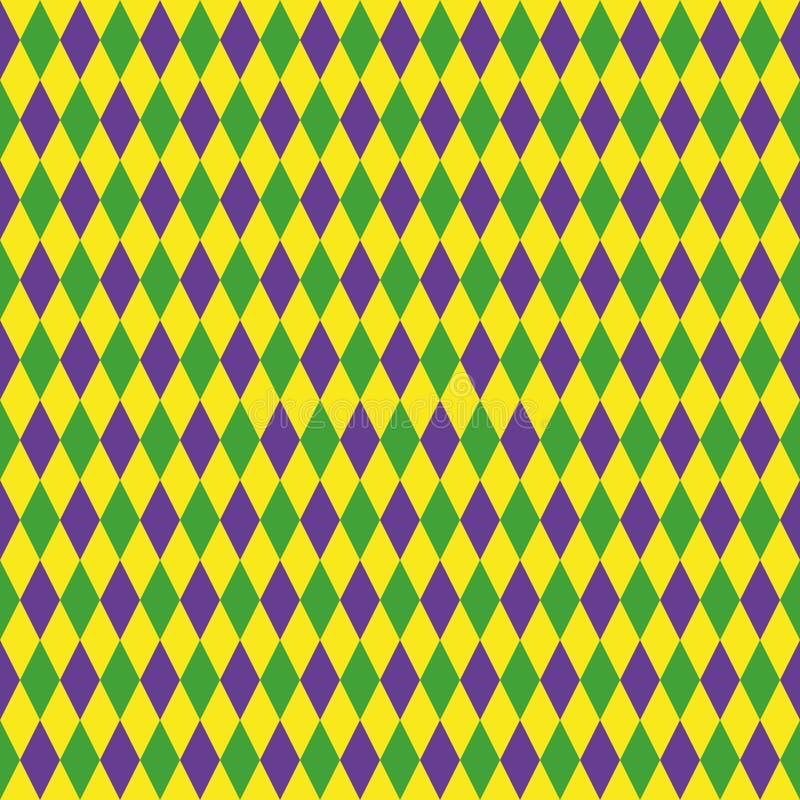 Картина марди Гра безшовная с зеленым, фиолетовым и желтым диамантом абстрактная предпосылка геометрическая Тучный вторник иллюстрация вектора