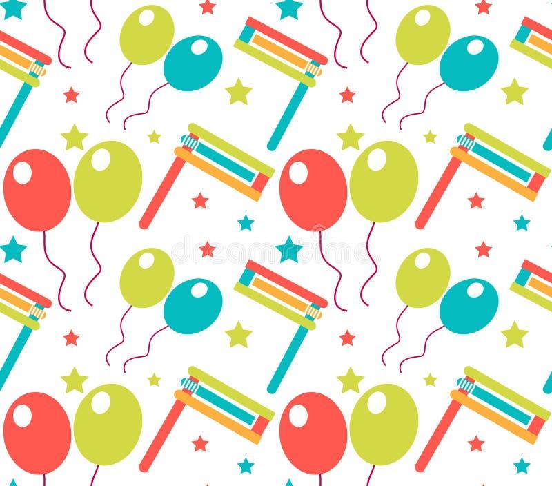 Картина масленицы безшовная Текстура Purim повторяющийся Праздник, masquerade, фестиваль, вечеринка по случаю дня рождения Бескон иллюстрация вектора