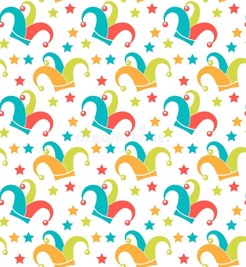 Картина масленицы безшовная Текстура Purim повторяющийся Праздник, masquerade, фестиваль, партия Бесконечная предпосылка, фон иллюстрация вектора