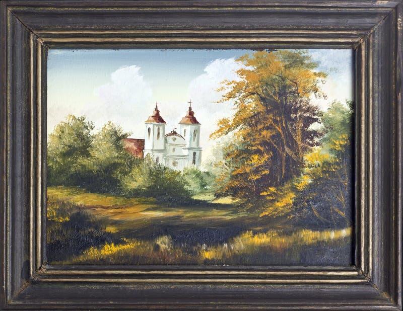 Картина маслом католической церкви бесплатная иллюстрация
