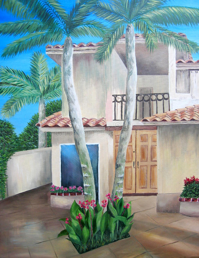 Картина маслом тропической дома с ярдом суда. иллюстрация вектора