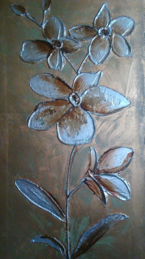 Картина маслом цветков с текстурой и сброс бежевого и ocher украсить предпосылки стоковые фотографии rf