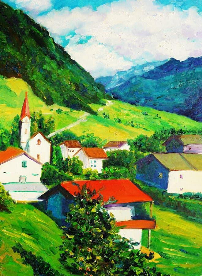 Картина маслом - церковь иллюстрация штока