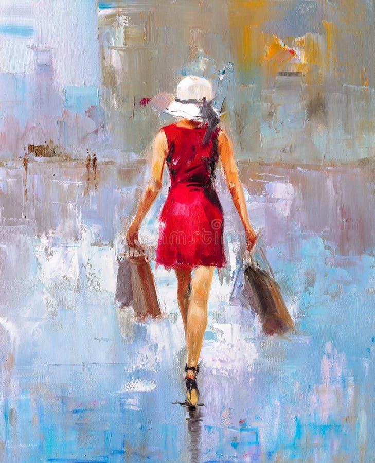 Картина маслом - дама моды бесплатная иллюстрация