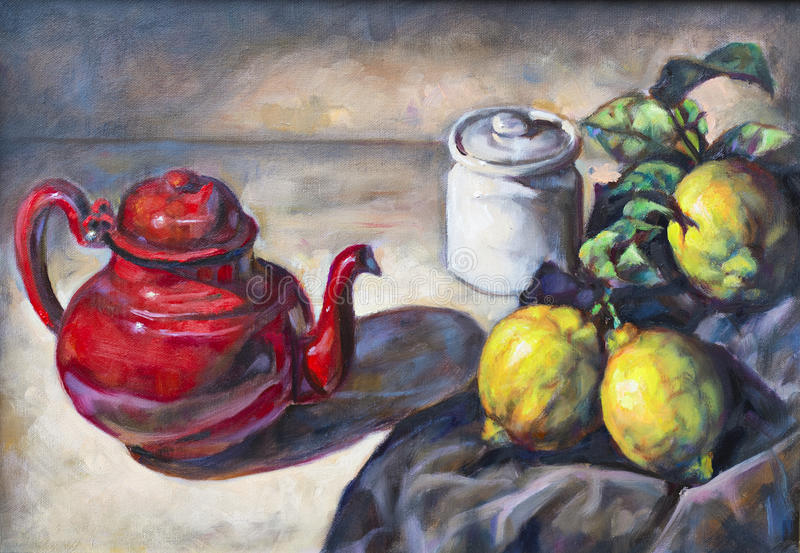 Картина маслом на холсте состава плодоовощ стоковое изображение