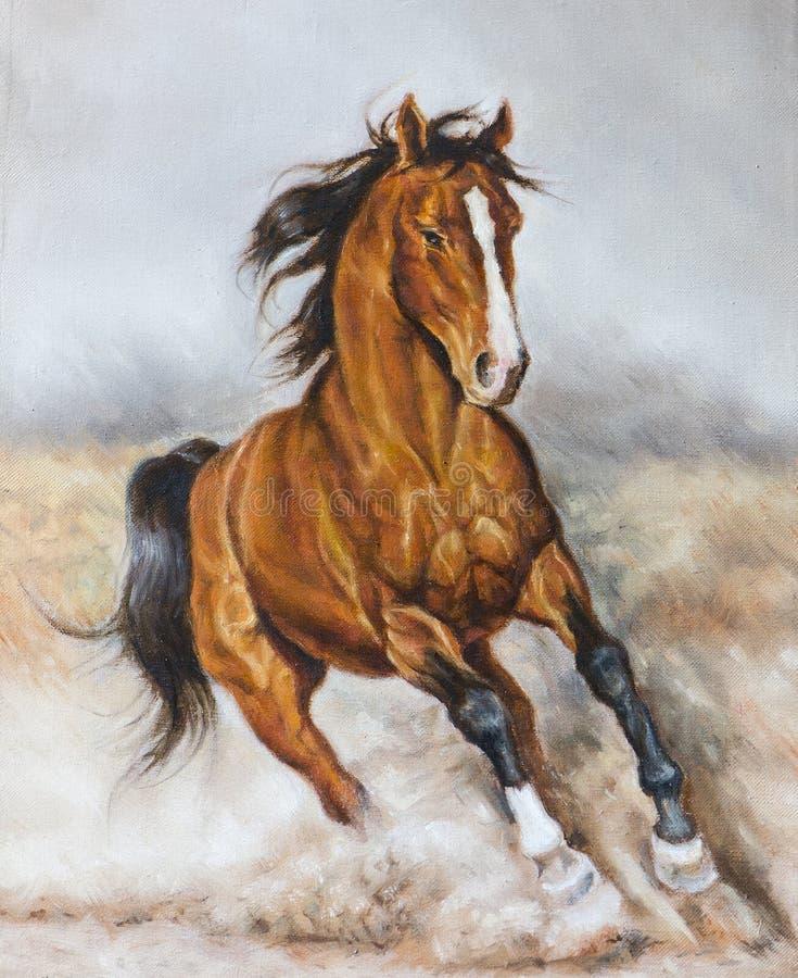 Картина маслом лошади на прерии стоковые изображения