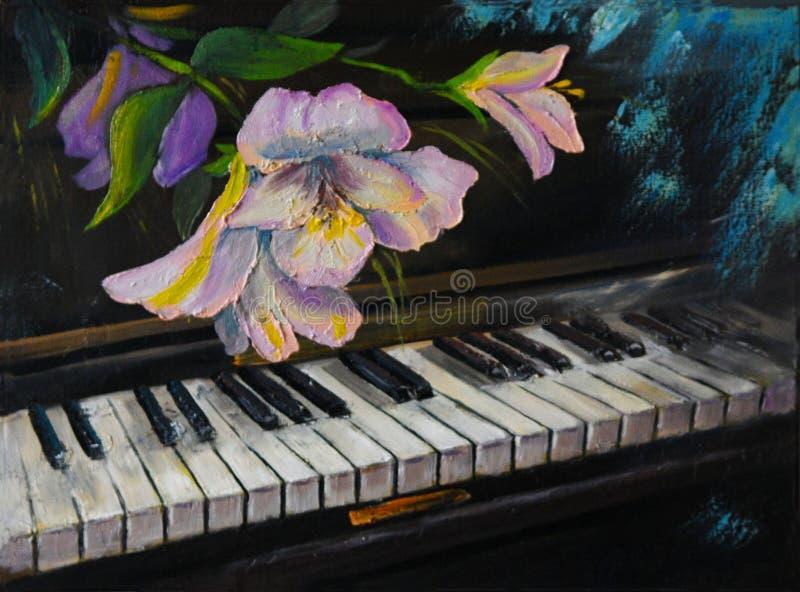 Картина маслом - рояль и цветки, год сбора винограда, художественное произведение иллюстрация вектора