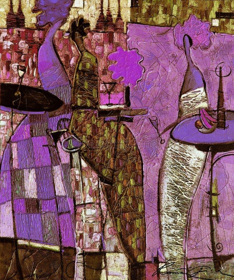 Картина маслом, художник римское Nogin, беседа женщин ` серии ` стоковые изображения