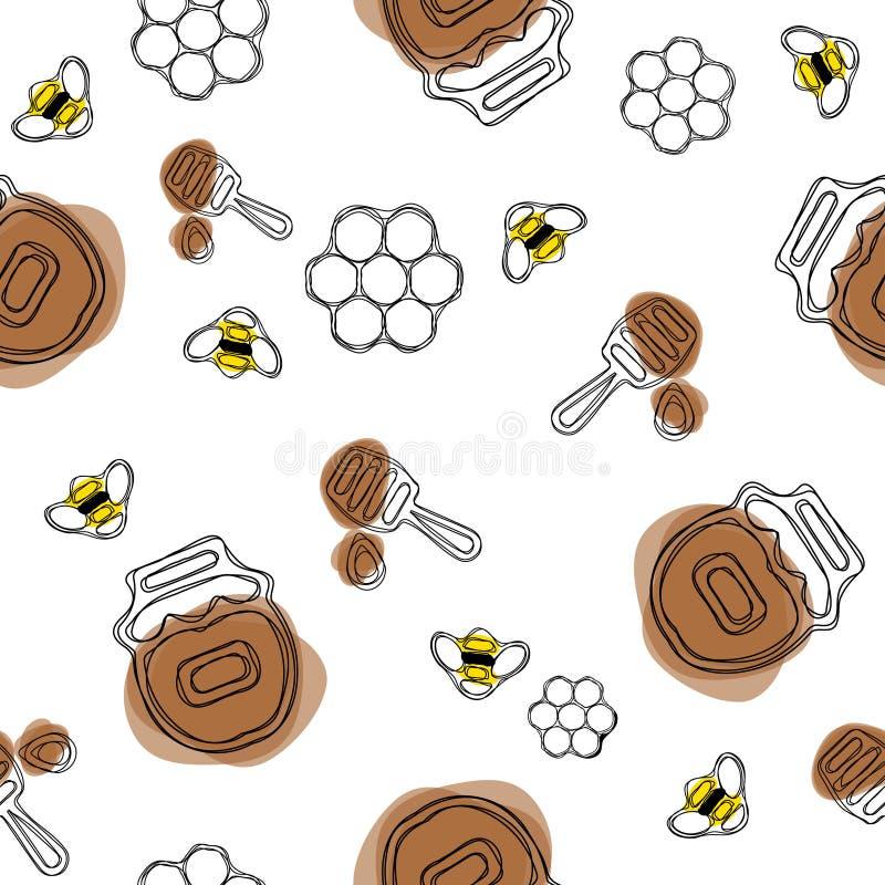картина меда безшовная Продукт пчеловодства Включенная пчела, мед, ковш, сот иллюстрация вектора