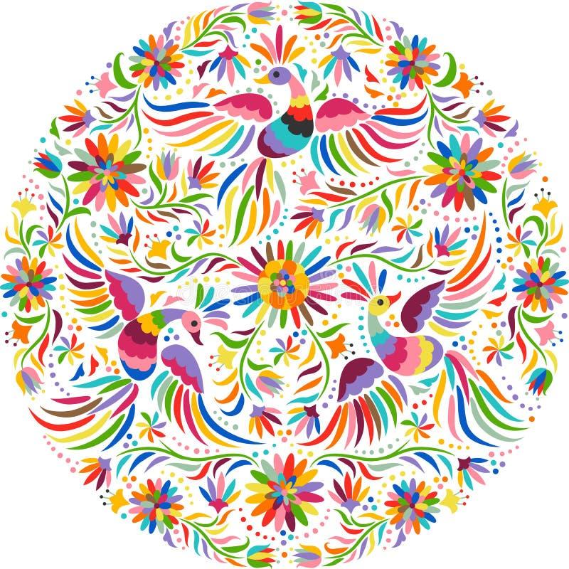 Картина мексиканской вышивки вектора круглая иллюстрация вектора