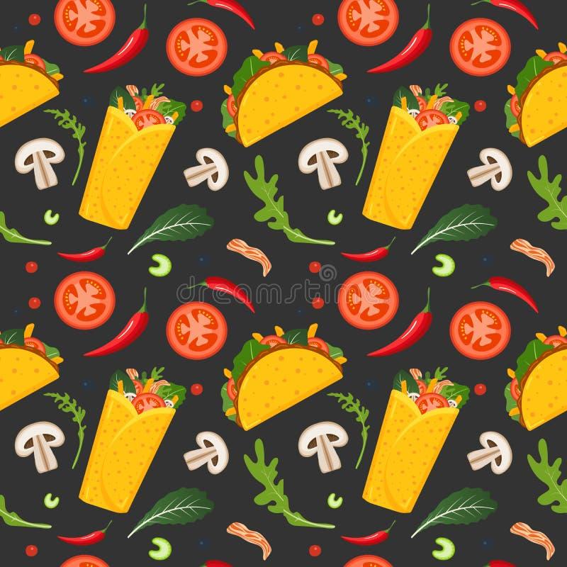 Картина мексиканской кухни безшовная Буррито, тако, горячий перец и зеленый салат Красочная предпосылка, милый стиль r иллюстрация вектора