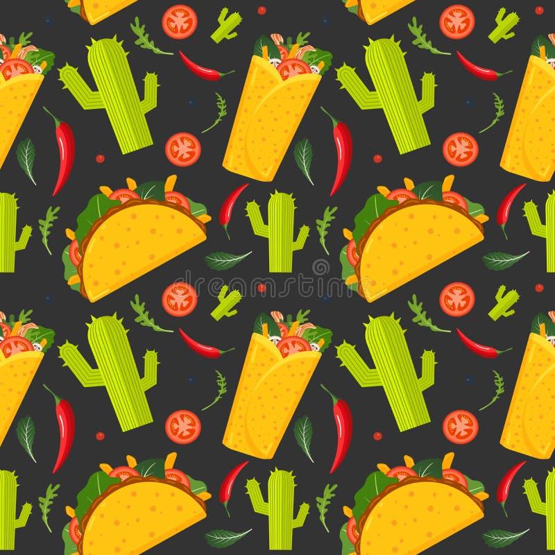 Картина мексиканской кухни безшовная Буррито, тако, горячий перец и зеленый салат Красочная предпосылка, милый стиль r иллюстрация штока