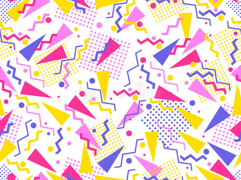 Картина Мемфиса безшовная Геометрические элементы Мемфис в стиле 80 ` s вектор иллюстрация вектора