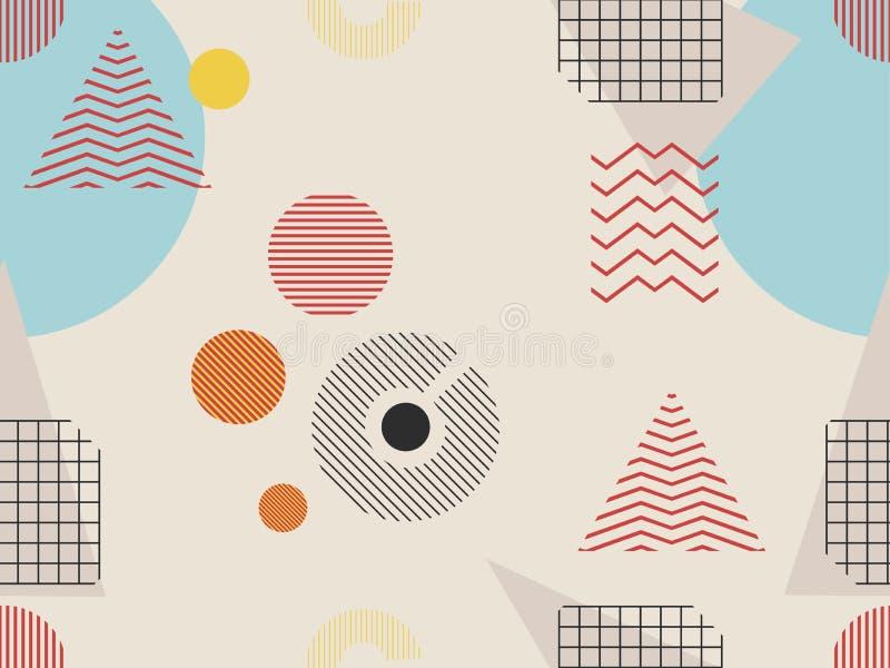 Картина Мемфиса безшовная Геометрические элементы Мемфис в стиле 80s Баухауз ретро вектор бесплатная иллюстрация