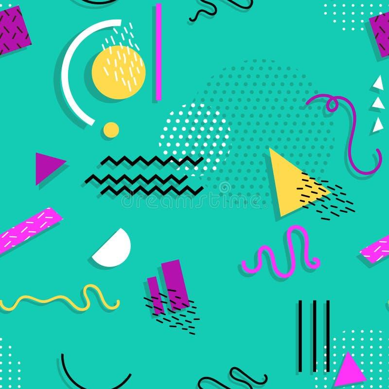 Картина Мемфиса безшовная геометрических форм для ткани и открыток иллюстрация штока