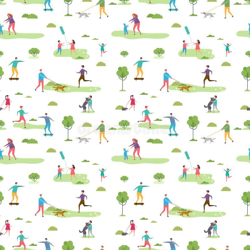 Картина мероприятий на свежем воздухе безшовная Персонажи из мультфильма идя иллюстрация вектора людей и детей иллюстрация штока