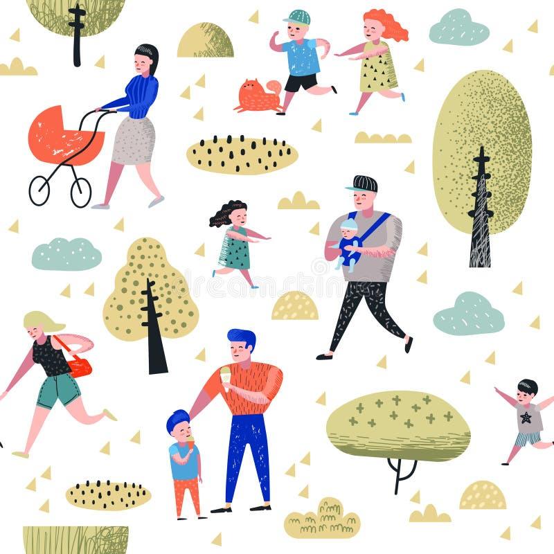 Картина мероприятий на свежем воздухе семьи безшовная Родители идя в парк с предпосылкой детей Счастливые люди ослабляя иллюстрация штока