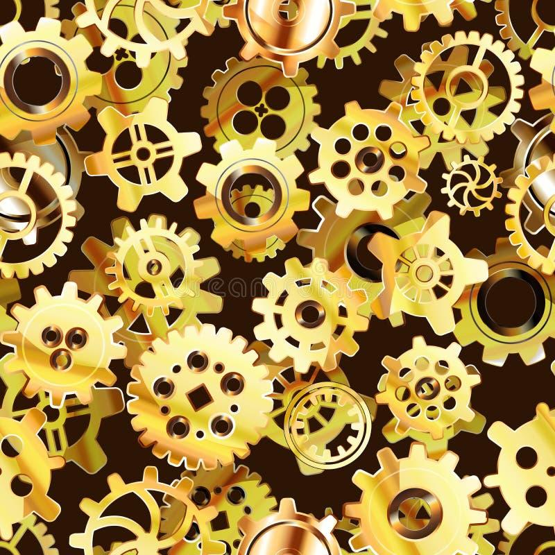 Картина механизма Clockwork безшовная с золотыми cogwheels steampunk иллюстрация штока
